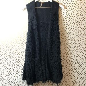 FREE PEOPLE long BLACK shag vest SIZE XS